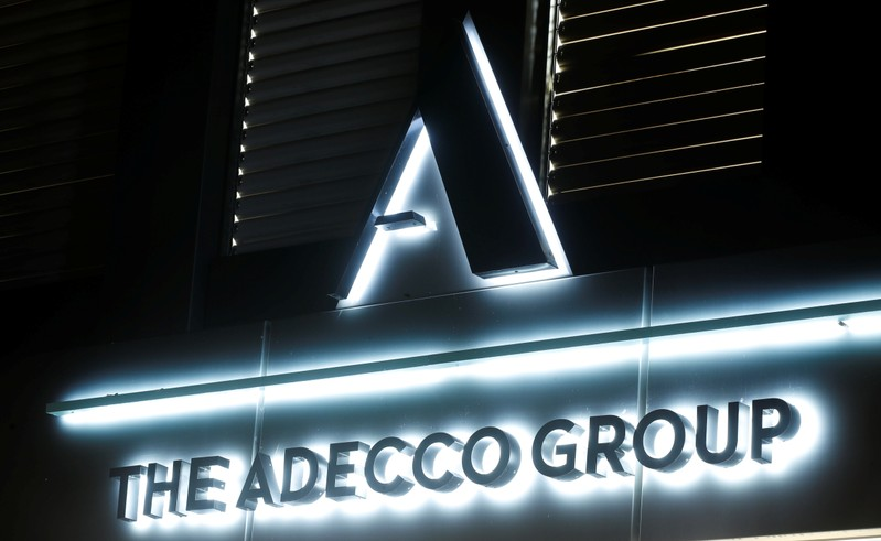 Logo of Swiss Adecco Group is seen in Zurich