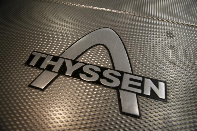 File photo of an escalator with a Thyssen logo in Essen