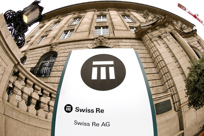 The logo of Swiss insurer Swiss Re is seen in front of its headquarters in Zurich