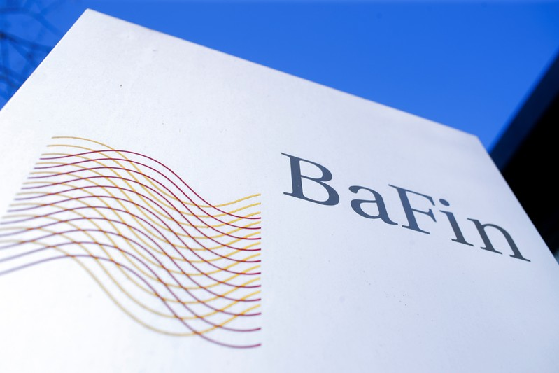 The logo of Germany's Federal Financial Supervisory Authority BaFin (Bundesanstalt fuer Finanzdienstleistungsaufsicht) is pictured outside of an office building of the BaFin in Bonn