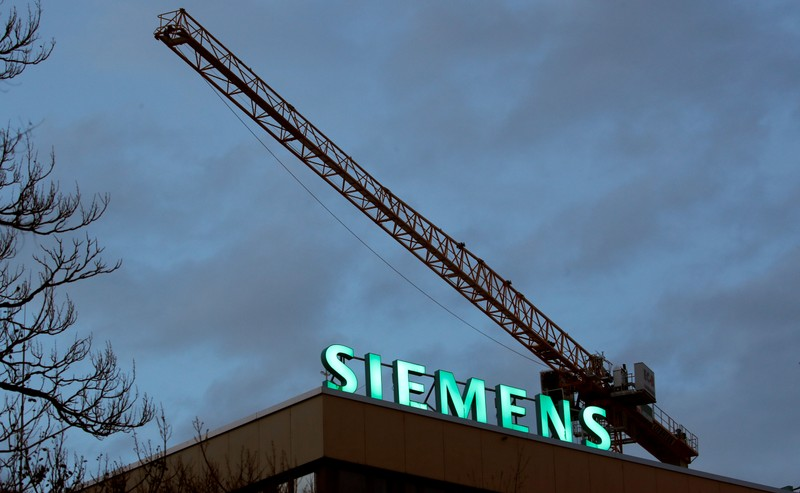 Logo of German industrial group Siemens is seen in Zurich