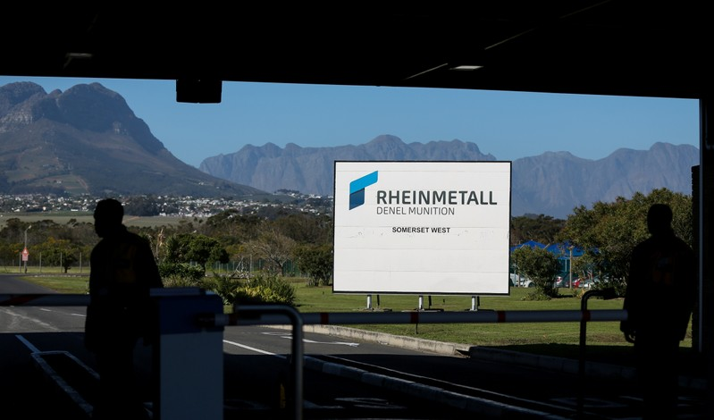 A company logo is seen at the entrance to the Rheinmetall Denel Munition plant near Cape Town, South Africa