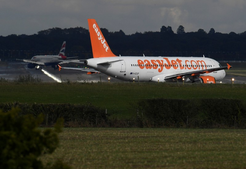 An EasyJet passenger aircraft  prepares for take off from Gatwick Airport in southern England, Britain