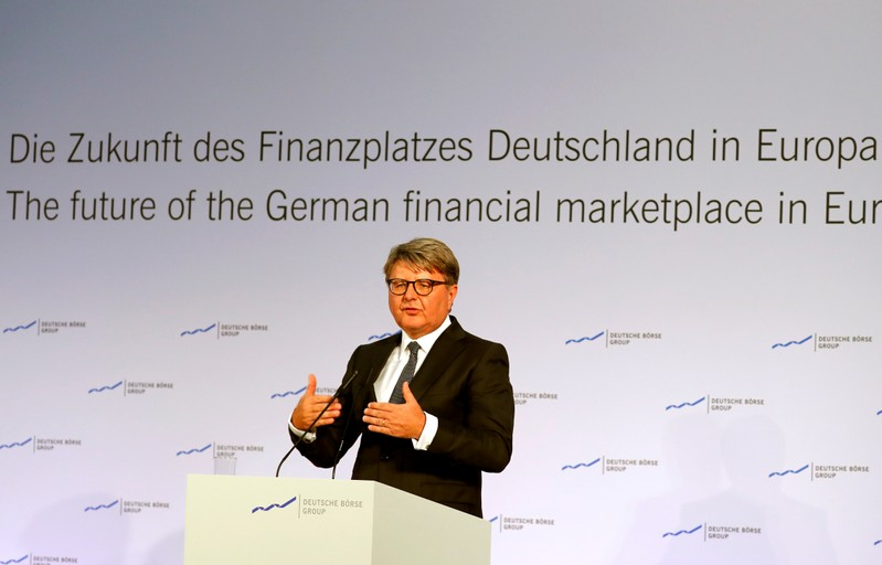 Deutsche Boerse CEO Theodor Weimer delivers a speech during a financial conference at the stock exchange in Frankfurt