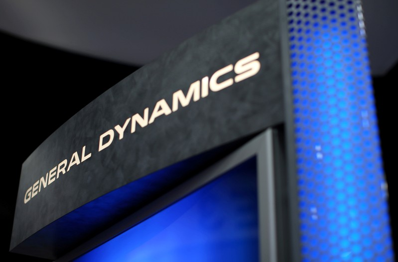 FILE PHOTO: A General Dynamics sign is shown at the International Association of Chiefs of Police conference in San Diego, California