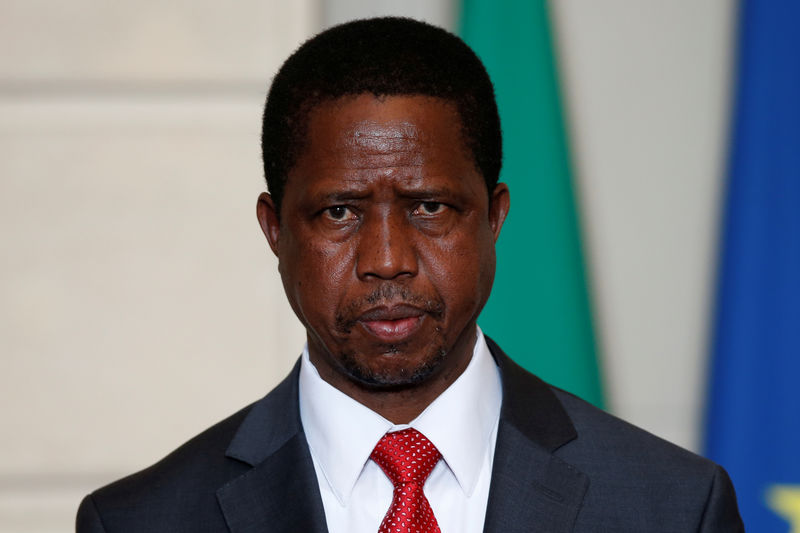 Zambia's President Edgar Lungu attends a signing ceremony at the Elysee Palace in Paris