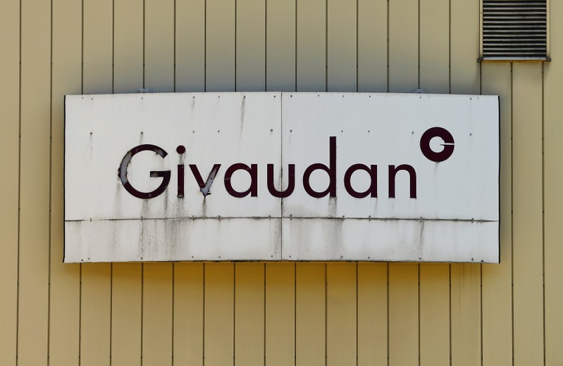 FILE PHOTO:  Logo of Givaudan, the world's biggest fragrance and flavours maker is seen in Kemptthal
