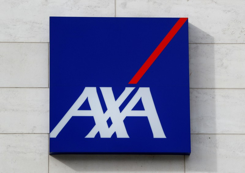FILE PHOTO: Logo of insurer Axa is seen at the entrance of the company's headquarters in Brussels