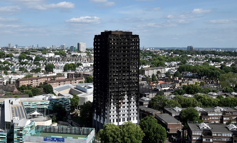 FILE PHOTO: Extensive damage is seen to the Grenfell Tower block which was destroyed in a disastrous fire, in north Kensington, West London