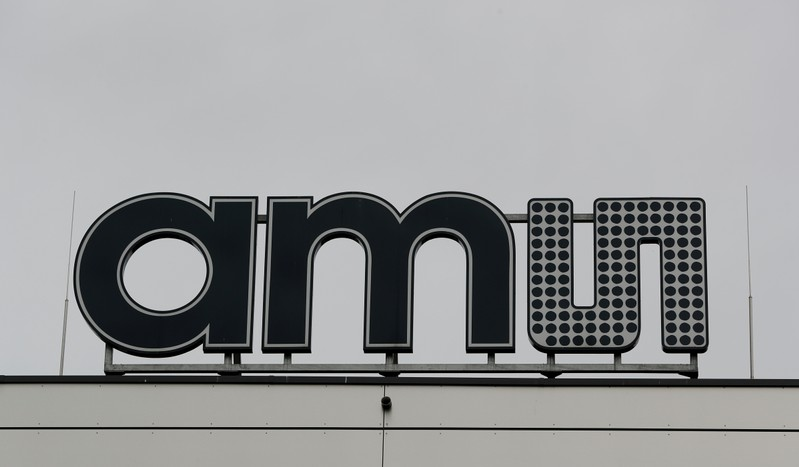 The Logo of Austrian sensor specialist AMS is seen on their factory in Unterpremstaetten