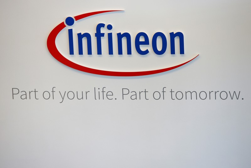 Logo of German semiconductor manufacturer Infineon is pictured before annual news conference in Munich