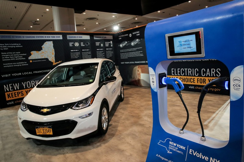 FILE PHOTO: An official New York State electric car is displayed in a New York State exhibit at the 2019 New York International Auto Show in New York