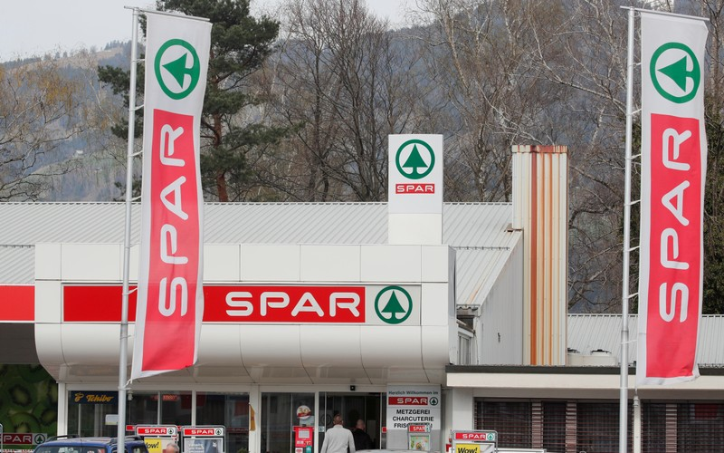FILE PHOTO: Logo of retailer Spar is seen in front of a supermarket in Schaenis