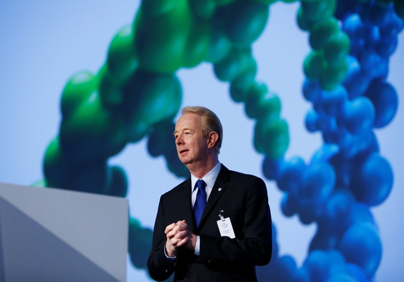 Outgoing Bayer AG CEO Dekkers is pictured at the company's AGM in Cologne