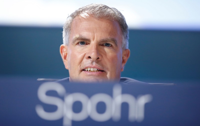 Carsten Spohr, CEO of German airline Lufthansa AG attends the company's annual shareholder meeting in Bonn