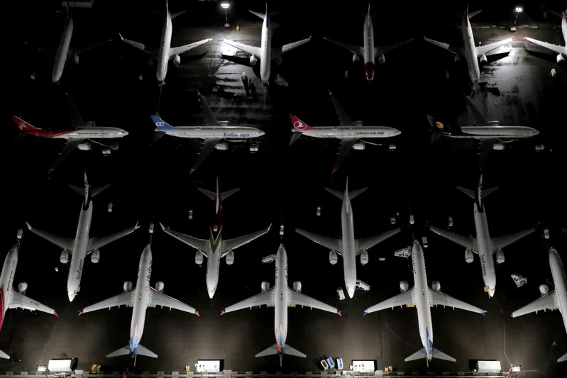 FILE PHOTO: Aerial photos show Boeing 737 Max airplanes on the tarmac in Seattle