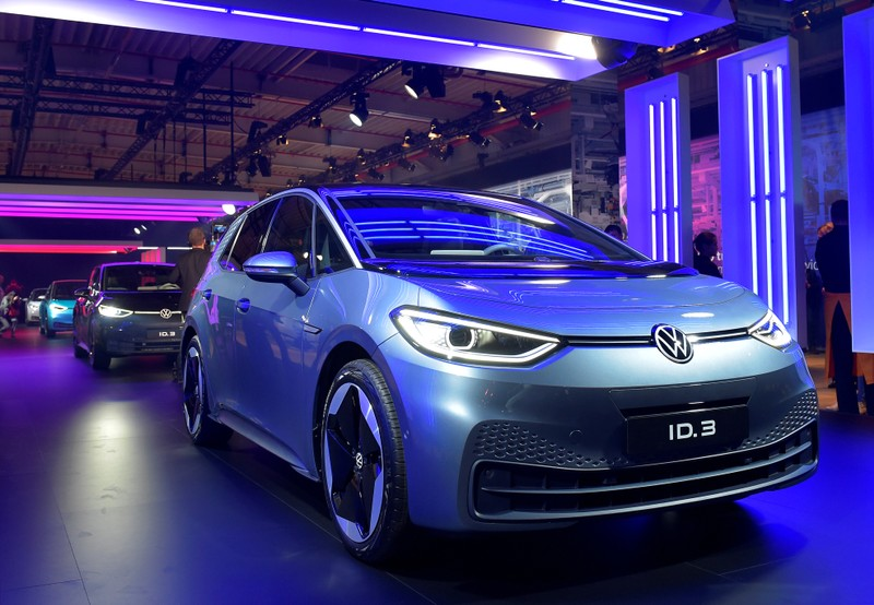 New cars are displayed during a ceremony marking start of the production of a new electric Volkswagen model ID.3 in Zwickau