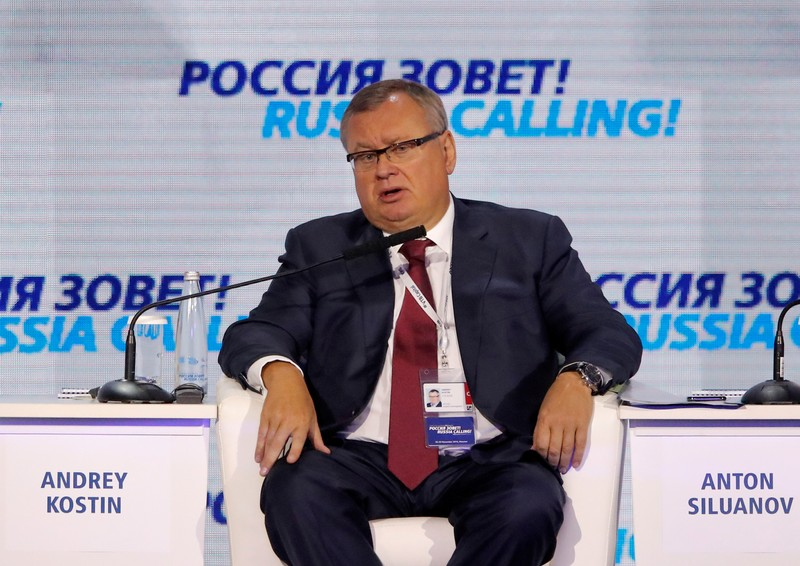 FILE PHOTO: VTB bank Chief Executive Kostin attends a session of the VTB Capital Investment Forum