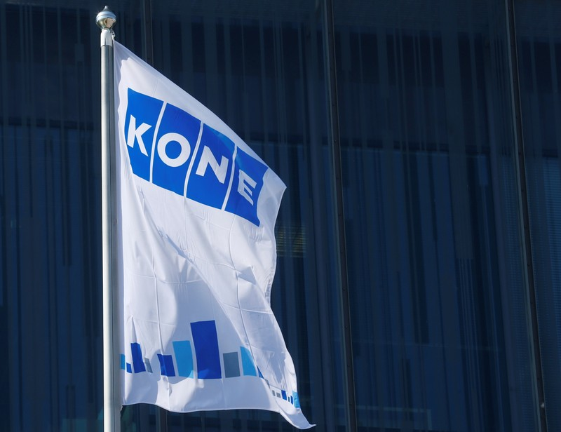 Finnish company KONE flag flutters at their headquarters in Espoo