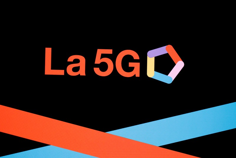 FILE PHOTO: A 5G sign is pictured at the Orange Business Summit in Paris
