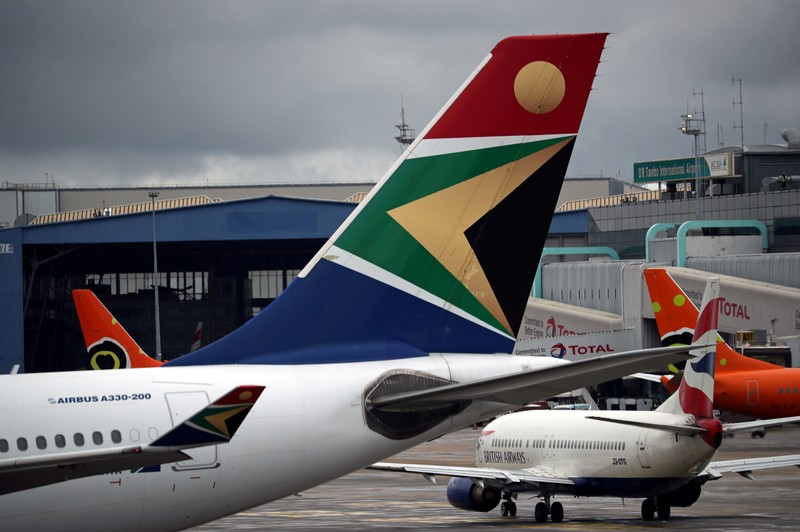 buFILE PHOTO: Logo of SAA is seen on an aircraft at O.R. Tambo International Airport in Johannesburg