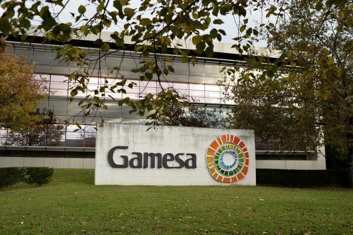 The Gamesa logo is displayed outside the Siemens Gamesa company headquarters in Zumudio near Bilbao