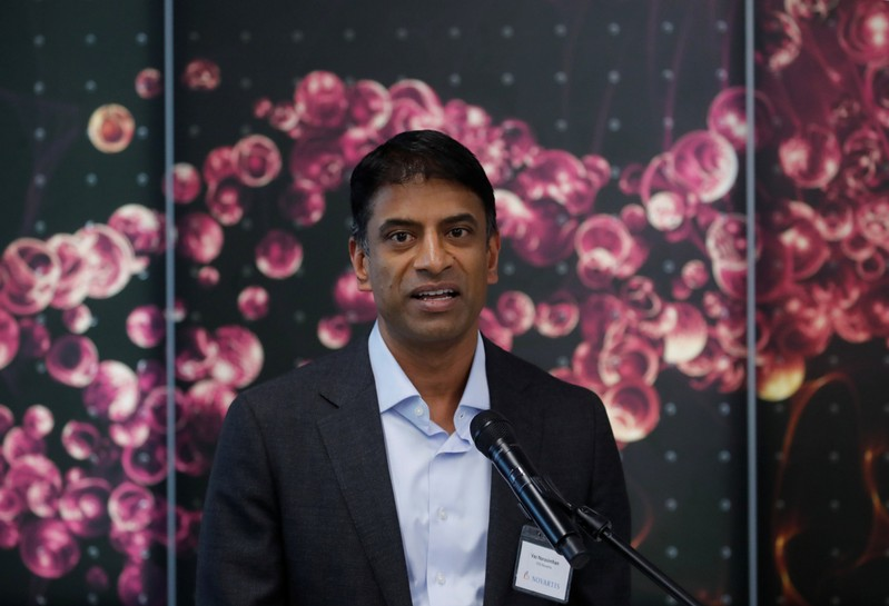 CEO Narasimhan of Novartis makes a speech during opening ceremony of new factory in Stein