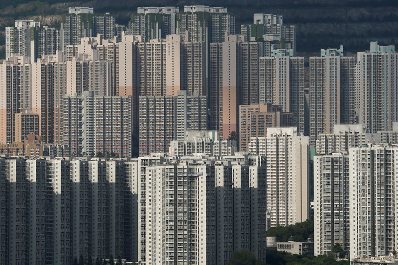Public and private housing blocks are seen in Hong Kong