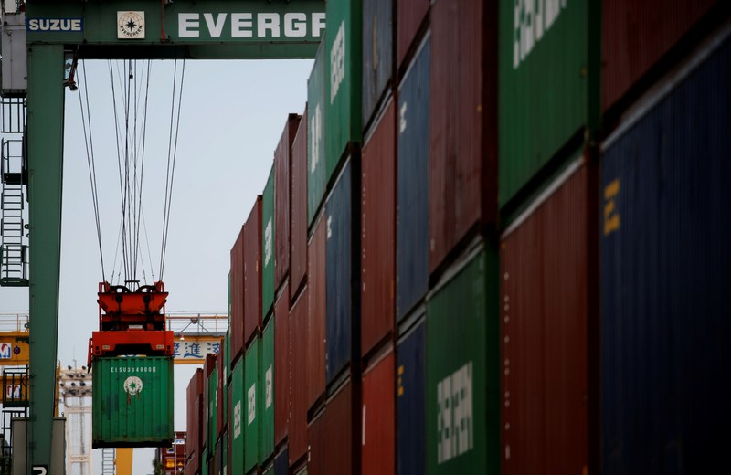 Containers are pictured at an industrial port in Tokyo