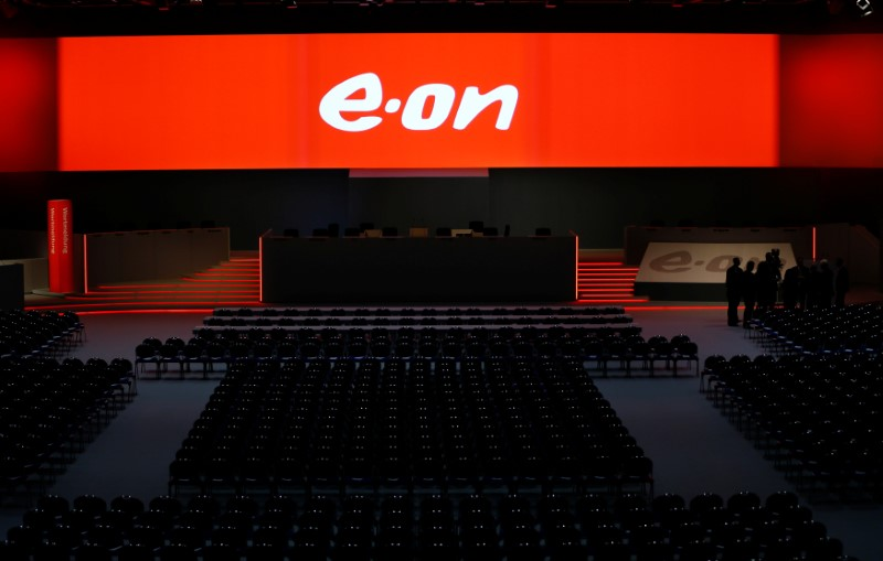 The empty stage for the board of German utility giant E.ON is seen before the annual shareholders meeting in Essen