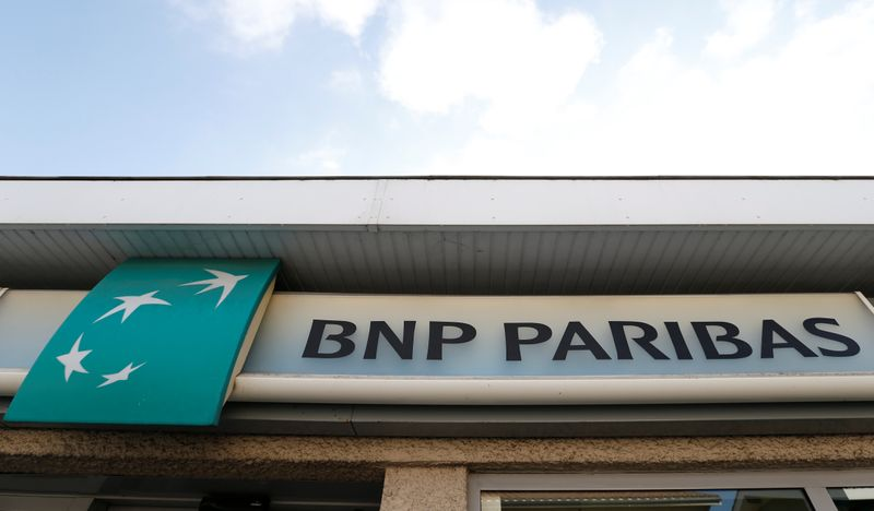 BNP Paribas logo is seen outside a bank office in Bordeaux