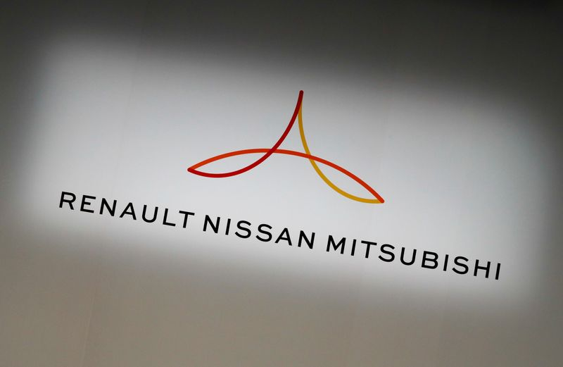 FILE PHOTO: Renault-Nissan-Mitsubishi The Renault-Nissan-Mitsubishi alliance logo at a joint news conference in Yokohama