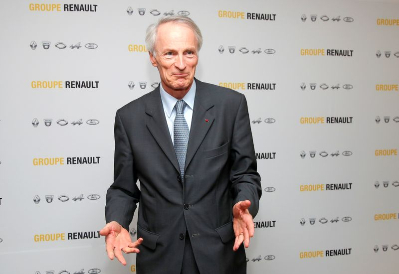 Chairman of Renault SA Jean-Dominique Senard attends a news conference at French carmaker Renault headquarters in Boulogne-Billancourt