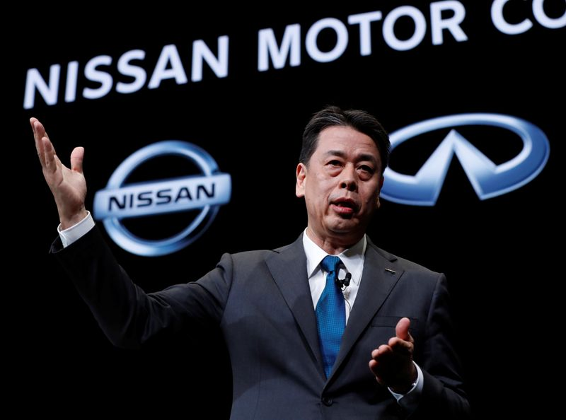 Nissan Motor chief executive Makoto Uchida speaks during a news conference at Nissan Motor headquarters in Yokohama