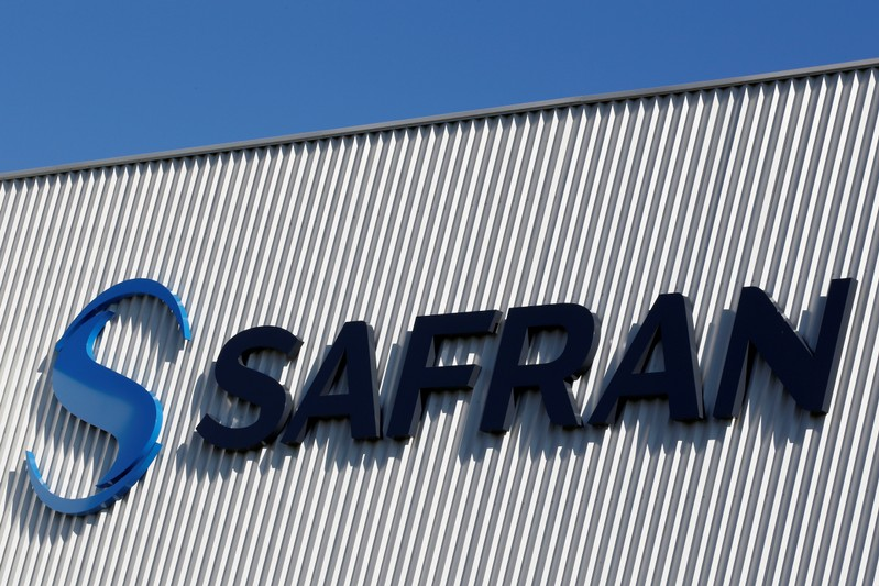 The Safran company logo is pictured at the company's logistic area in Colomiers near Toulouse