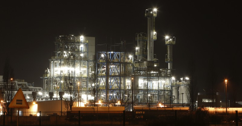 A plant of German specialty chemical company Evonik Industries AG is pictured in Bitterfeld