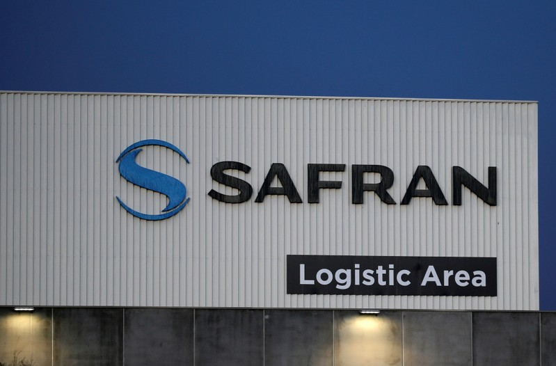 FILE PHOTO: The Safran logo is pictured at the company's logistic area in Colomiers, near Toulouse