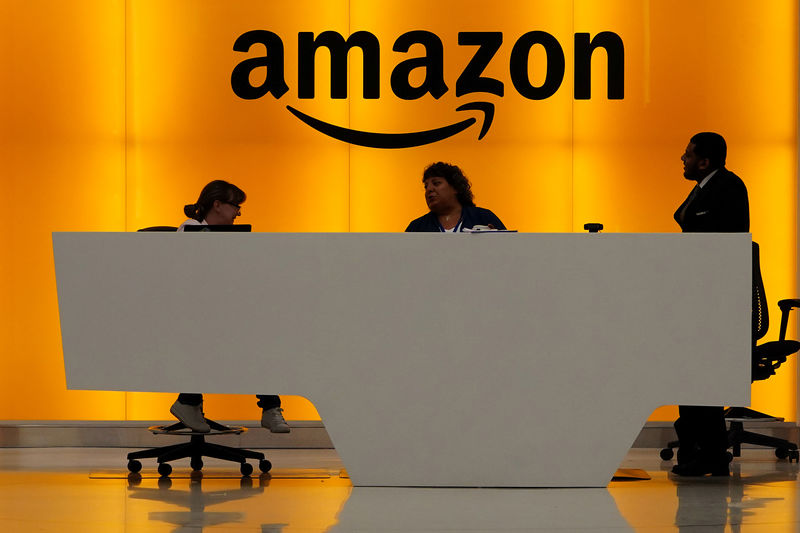 Amazon office front desk pictured in Manhattan, New York