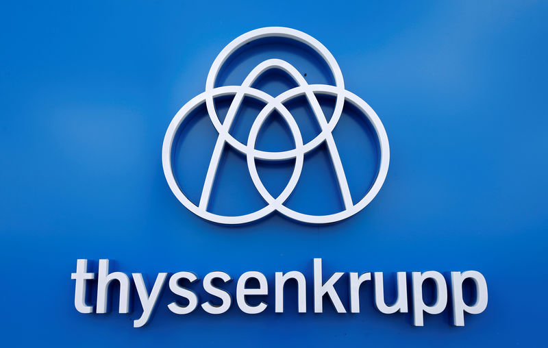 Thyssenkrupp's logo is seen close to the elevator test tower in Rottweil