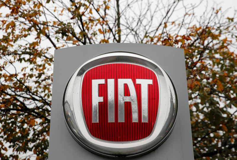 Logo of car manufacturer Fiat is seen in Zurich