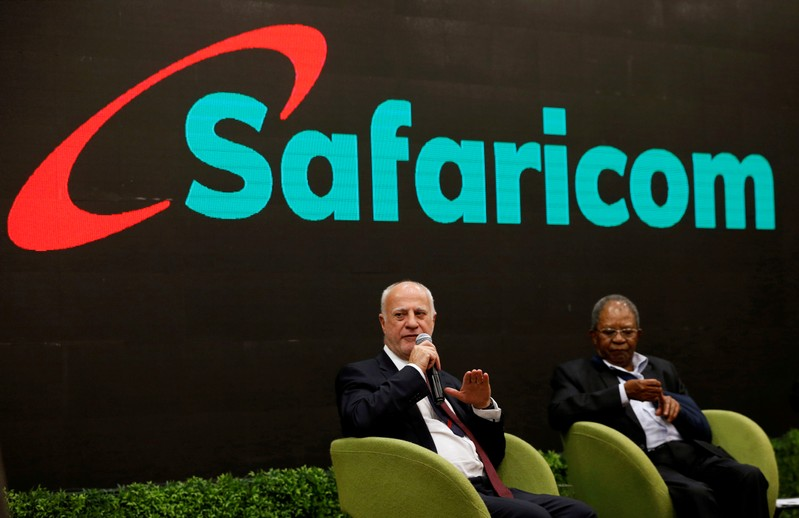 FILE PHOTO: Safaricom Chief Executive Officer (CEO) Michael Joseph flanked by Safaricom chairman Nicholas Ng'ang'a addresses an investor briefing at their headquarters in Nairobi
