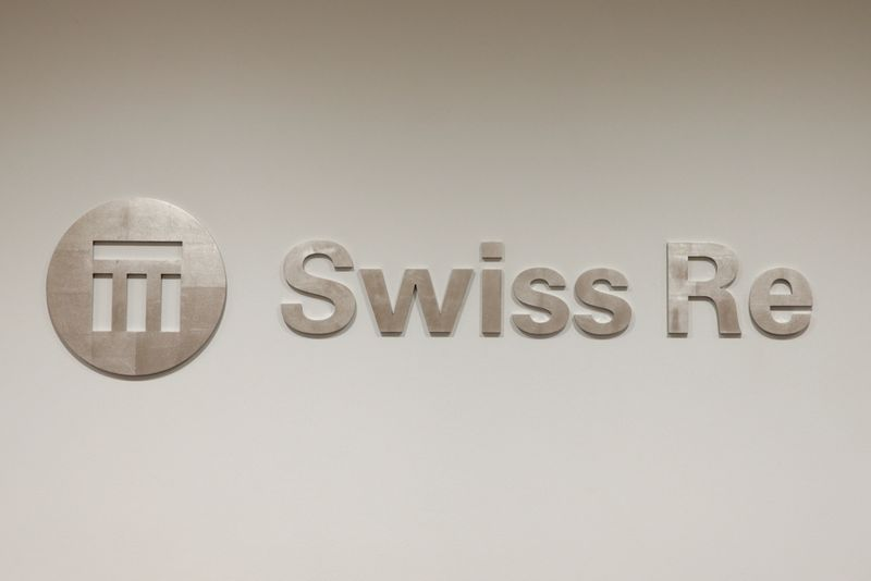 The logo of the world's second largest reinsurer Swiss Re is seen inside the company's offices in Zurich