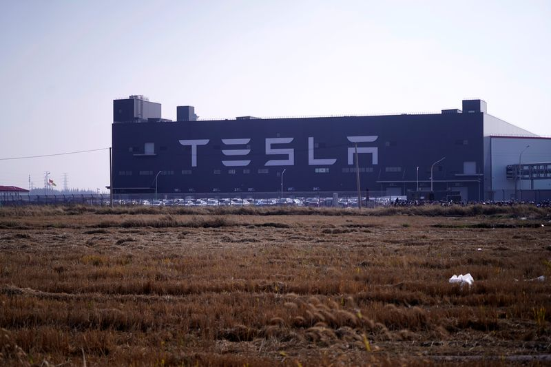 The gigafactory of electric carmaker Tesla Inc is seen in Shanghai