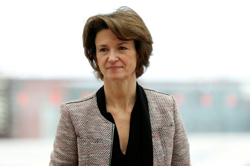 Isabelle Kocher, CEO of Engie, attends a news conference in Paris