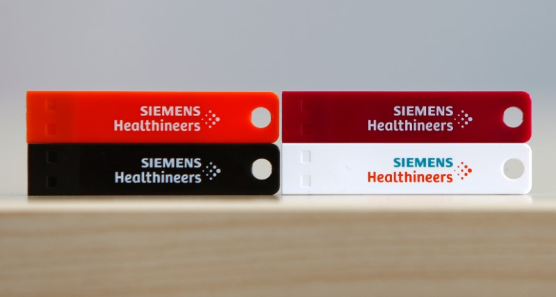 Logos of Siemens Healthineers are pictured in Erlangen