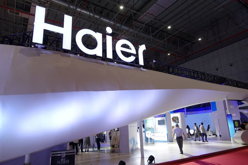 FILE PHOTO: Haier sign is seen at its booth during the Aquatech China exhibition in Shanghai