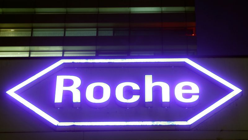 FILE PHOTO: Swiss drugmaker Roche's logo is seen at their headquarters in Basel, Switzerland