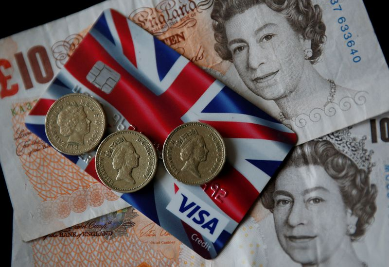 A Union Jack themed Visa credit card is seen amongst British currency in this photo illustration taken in Manchester, Britain