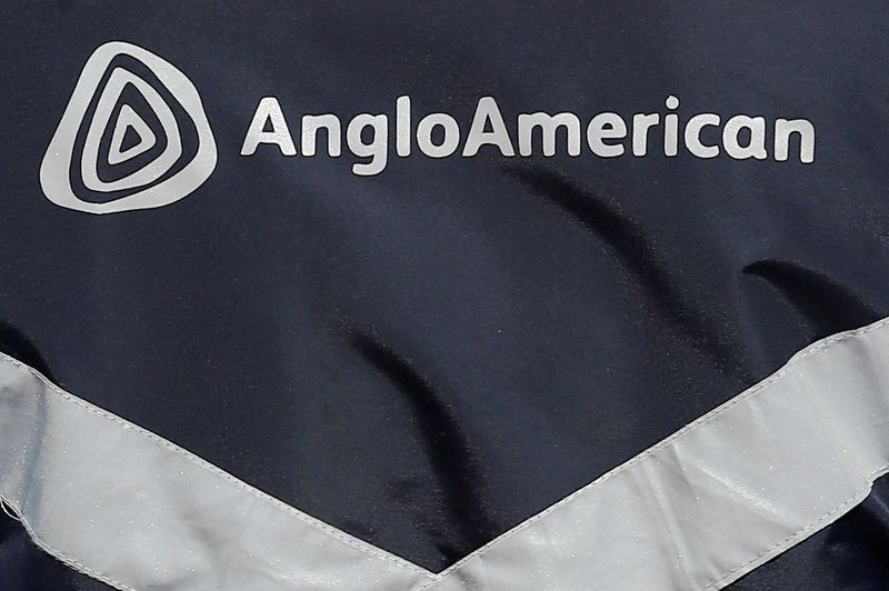 FILE PHOTO: Logo of Anglo American is seen on a jacket of an employee at the Los Bronces copper mine, in the outskirts of Santiago