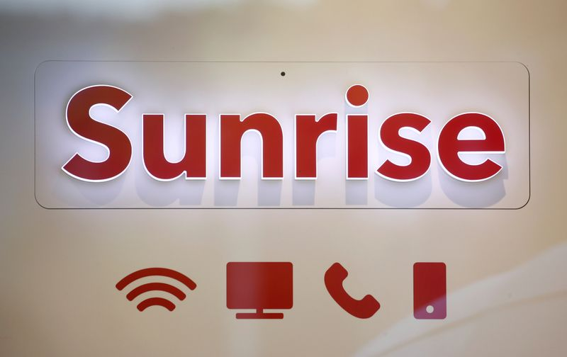 Swiss telecom company Sunrise's logo is seen in Zurich